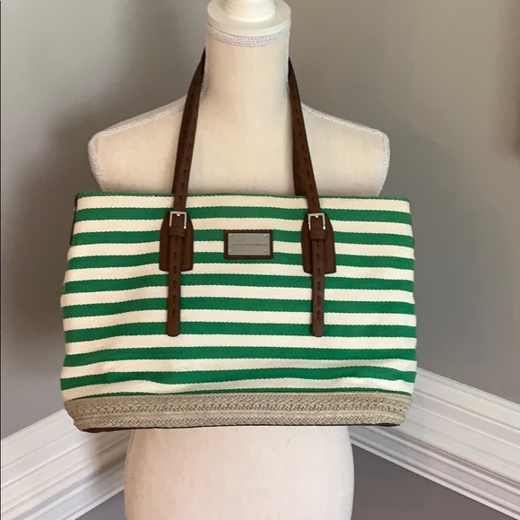 Dana Buchman Green & Cream Stripe Purse